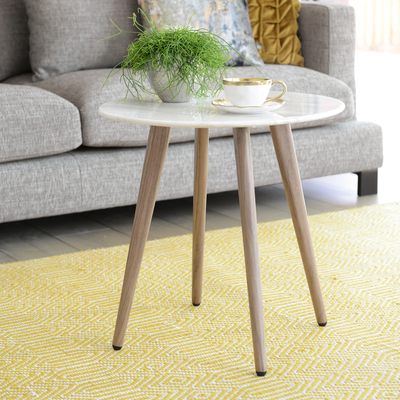 Lucerne white marble side table round