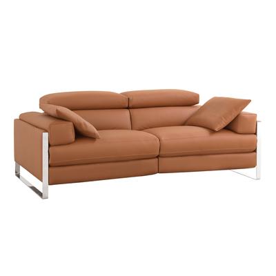 Rimini reclining leather medium sofa tan