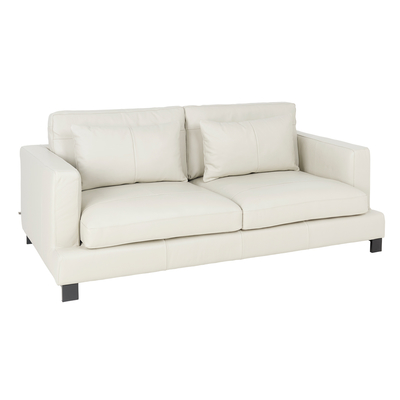 Lugano leather three seater sofa stone