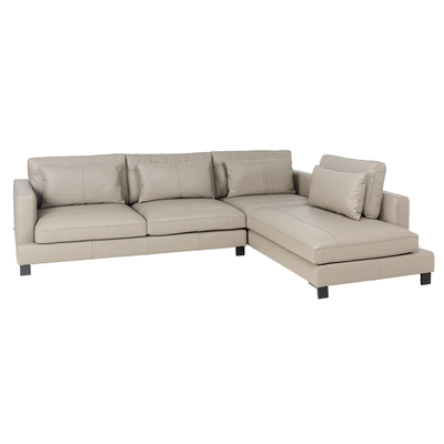 Lugano leather right hand corner sofa dove grey