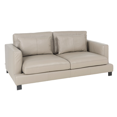 Lugano leather three seater sofa dove grey