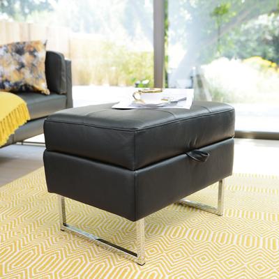 Paris leather storage footstool jet black