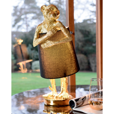 Shy monkey table light gold