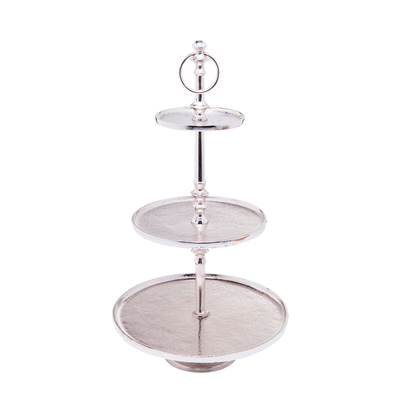 Three tier silver etagere