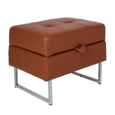 Paris leather storage footstool natural tan