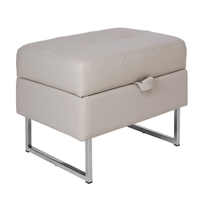 Paris leather storage footstool stone