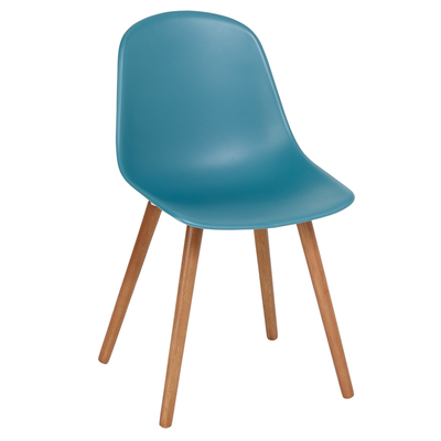 Treviso dining chair with walnut leg teal