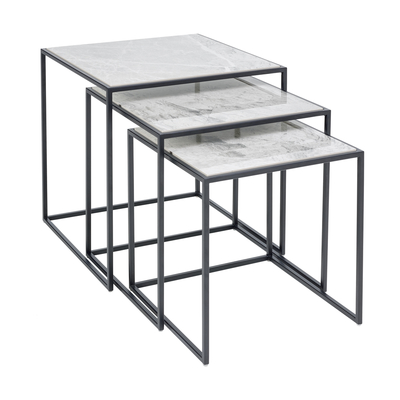 Cubic nesting side tables marble ceramic light grey