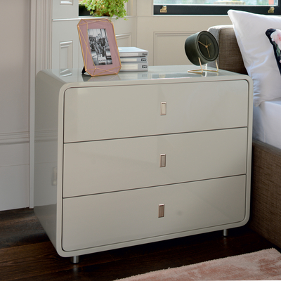 Malone wide chest of drawers light grey