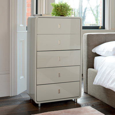 Malone five drawer chest of drawers light grey
