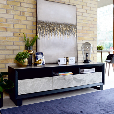 Reno TV unit light grey marble ceramic