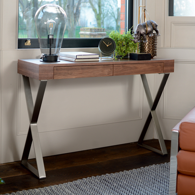 Crossed leg console table walnut