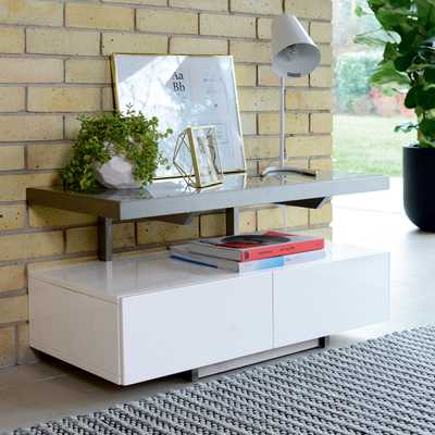 Floating compact TV unit white and light grey ceramic