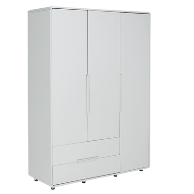Notch wardrobe three door with drawers light grey