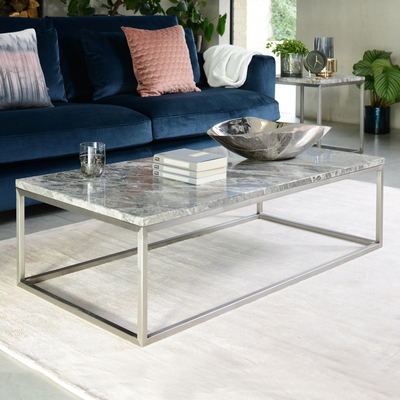 Marble rectangular coffee table light grey