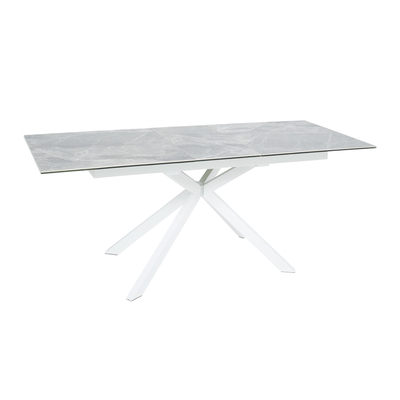 Bolzano extending 6-8 seater dining table light grey marble ceramic