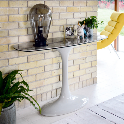 Lille marble ceramic console table light grey