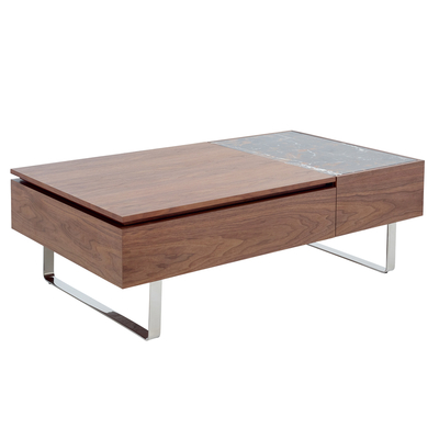Reveal coffee table walnut and mocha marble