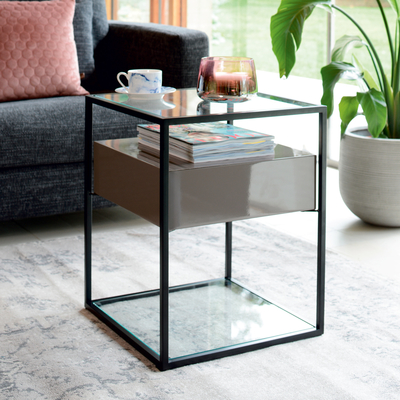 Drift side table stone gloss