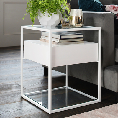 Drift side table white gloss