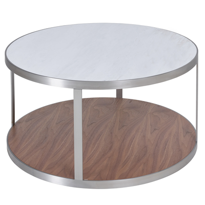 Discus marble and walnut coffee table white