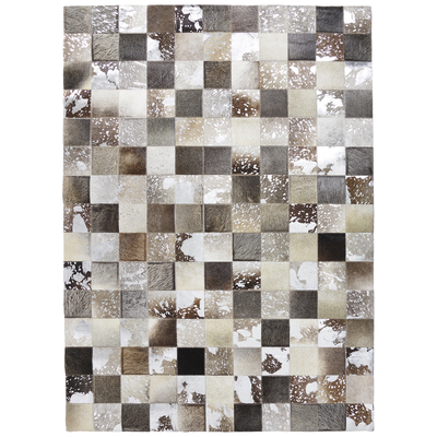 Patchwork leather rug grey