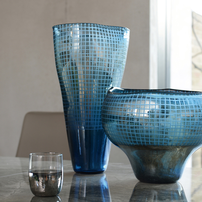 Grid reflect shaped vase tall blue