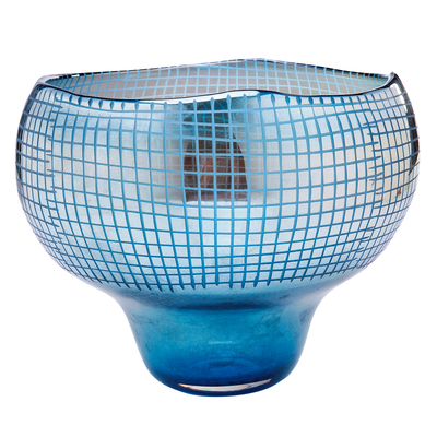 Grid reflect shaped vase round blue