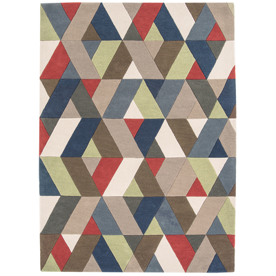 Chevron multicoloured rug large