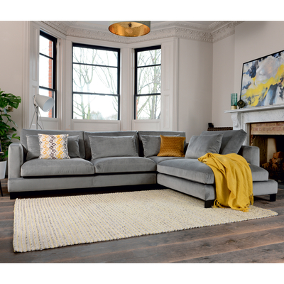 Lugano right hand corner sofa grey velvet