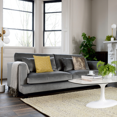 Lugano four seater sofa grey velvet
