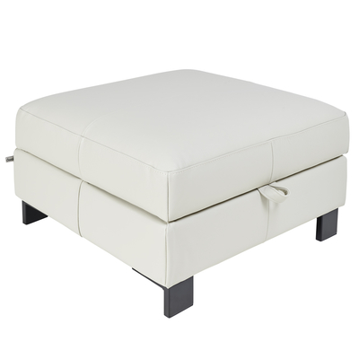 Lugano leather storage stool stone