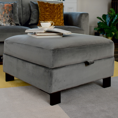 Lugano storage stool grey velvet