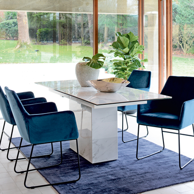Geneva marble ceramic extending 6-8 seater dining table