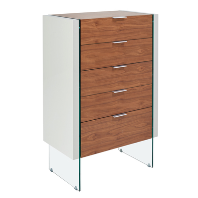 Treble five drawer chest of drawers walnut and light grey