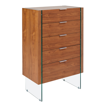 Treble five drawer chest of drawers walnut