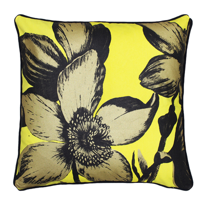 Bold floral cushion yellow and gold