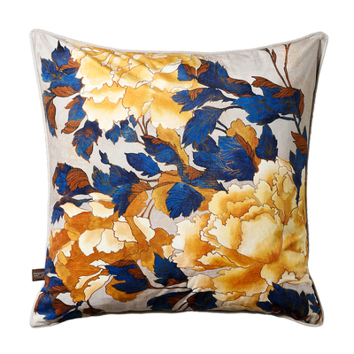 Bloom cushion yellow and blue