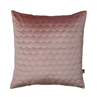 Quilted circles cushion blush pink
