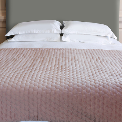 Quilted circles bedspread blush pink