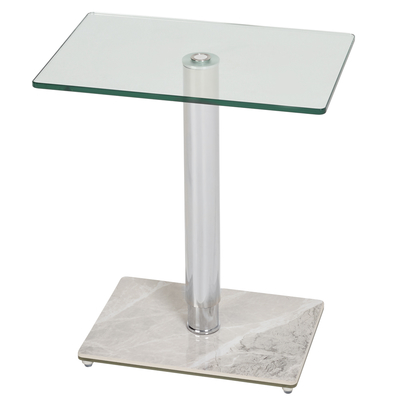 Tomasz side table light grey marble ceramic base