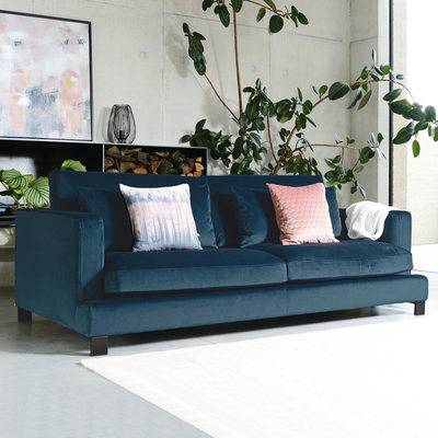 Lugano four seater sofa blue velvet