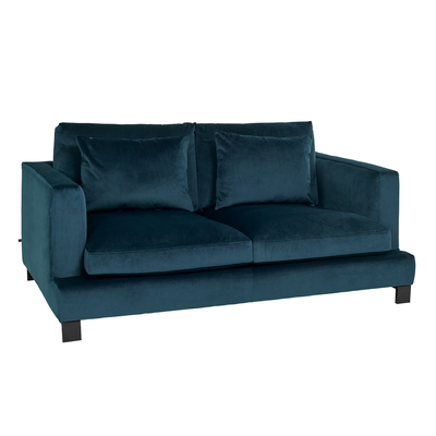 Lugano two seater sofa blue velvet