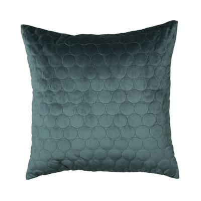 Quilted circles cushion teal