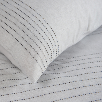 Stitch duvet set light grey double