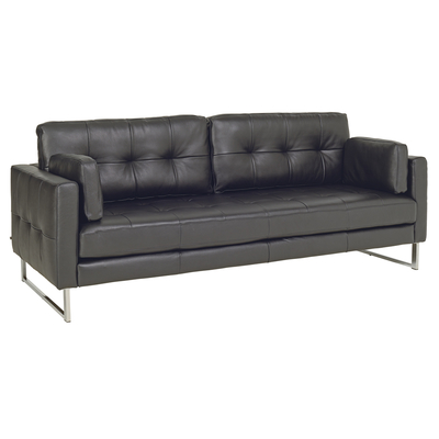 Paris leather four seater sofa jet black