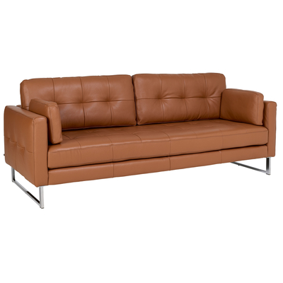Paris leather four seater sofa natural tan