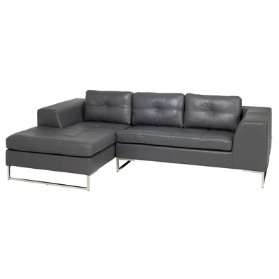 Vienna leather left hand compact corner sofa grey