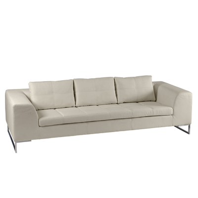 Vienna leather three seater sofa stone