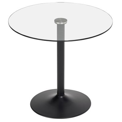 Palermo 2-3 seater dining table clear with black leg
